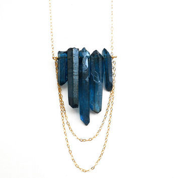 Deep Blue Crystal Quartz Point Necklace Crystal by toccajewelry
