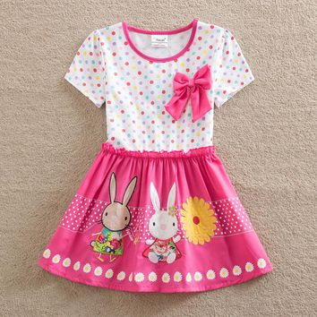 Free Shipping 2017 children clothes casual dress girls summer fashion embroidered rabbit and Bows dress baby girls dress
