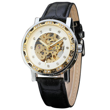 Luxury Fashion Women Wristwatches Crystal Decorated Skeleton Louvre Series Dial Leather Strap Ladies Automatic Mechanical Watch