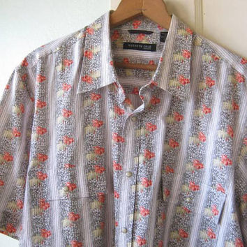 Western Style Short-Sleeve Shirt in Red/Yellow/Grey Floral Print w/ Snap Buttons; Men's XL Vintage Kenneth Cole Cotton Button-Up Shirt