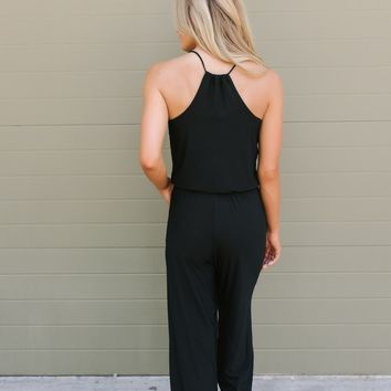 V-Neck Racerback Knit Jumpsuit - Black
