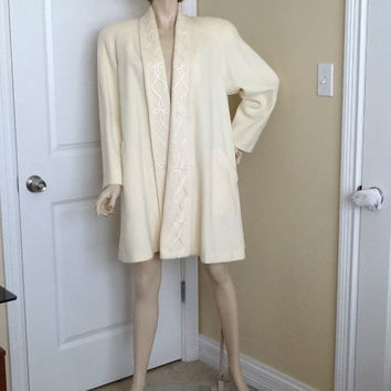 1970s Vintage Signature Expressions Wool Blend Ivory Coat with Braid Trim, Size Small, Very Good Condition, Vintage Coat, Vintage Clothes