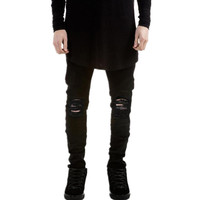 Men's Hi-Street Black Ripped Fashion Distressed Skinny Destroyed Denim Jeans