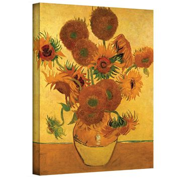 Art Walls Vase with Fifteen Sunflowers Gallery Wrapped Canvas by Vincent Van Gogh, 18 by 24-Inch