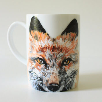 Handpainted Teacup - Coffee Mug - Red Fox - Woodland Animal - Home Kitchen Decor - Modern Porcelain Tea Ware - Original Wildlife Painting