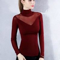 2017 Spring long sleeve hollow out stretchy mesh T-shirts women sexy body Lace T-shirts women transparent lace mesh tops Female