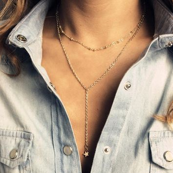 Women's Double Layered Star Lariat Charm Necklace Gold Tone