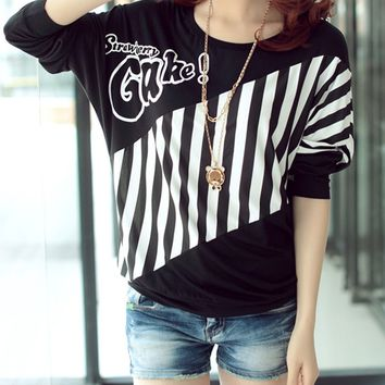 Streetstyle  Casual Round Neck Vertical Striped Batwing Long Sleeve T-Shirt