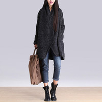 Temperament irregular gray wool coat / long-sleeved woolen coat