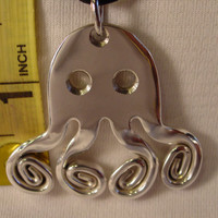 A Spoon Rings Plus Beautiful Fork Octopus Necklace Pendant on a Black Cord or Thin Chain o2