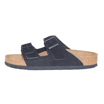Birkenstock Unisex: Arizona Soft Footbed Black Suede Sandal - Beauty Ticks