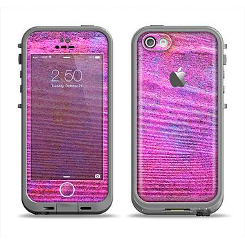 The Neon Pink Dyed Wood Grain Apple iPhone 5c LifeProof Fre Case Skin Set
