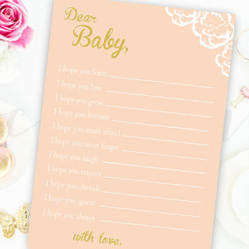 Wishes for Baby Shower Game Pink and Gold Flower Floral Wishes for Baby Shower Printable Instant Download Digital Girl Baby Shower Games