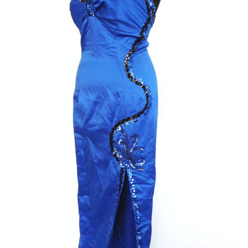 Vintage 1980s Sexy Cobalt Blue Long Sequin Cocktail Dress Choker Neck Jessica McClintock Sequin Beaded Maxi Prom Gown Vegas Showgirl Vamp