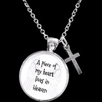 A Piece Of My Heart Lives In Heaven Guardian Angel Cross In Memory Necklace