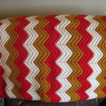 Vintage Chevron Knit AFGHAN Lap Throw BLANKET, Red Goldenrod White, Kitsch Crochet Granny