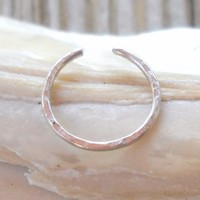 Hammered 925 Sterling Silver Ear Cuff or Fake Nose Ring