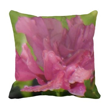 Rose of Sharon Rain Drops Throw Pillow