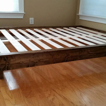 Platform Bed, Bed Frame, Low Profile Bed, Wood Bed, Twin, Full, Queen, King, Cal King, Guest Bed