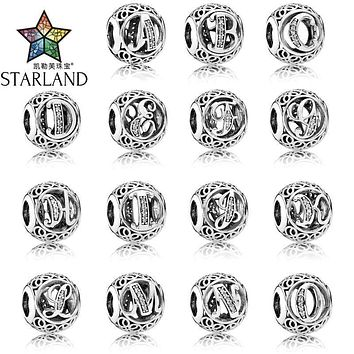 Starland Fashion 925 Sterling Silver Alphabet A To O Clear CZ Hollow Out Round Charm Beads Fit Original Charms Bracelet Jewelry