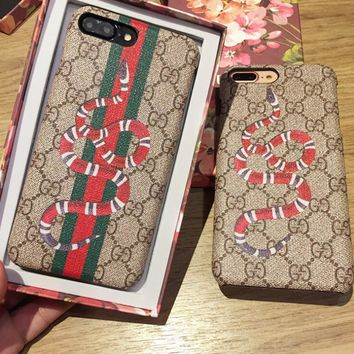 GUCCI Fashion Snake Stripe iPhone Phone Cover Case For iphone 6 6s 6plus 6s-plus 7 7plus