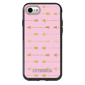 DistinctInk™ OtterBox Symmetry Series Case for Apple iPhone or Samsung Galaxy - Pink & Gold Print - Arrows Pattern
