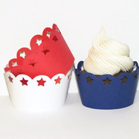Patriotic Star Cupcake Wrappers - Americana Party Supplies - Set of 12