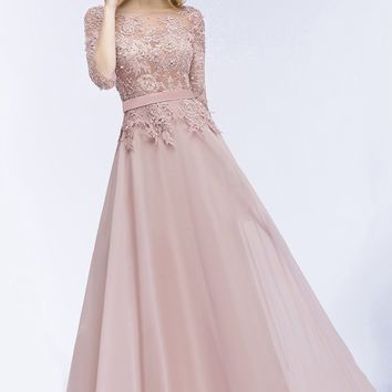 Elegant Long Pink Navy blue Bridesmaid Dresses Chiffon A-Line 3/4 Sleeve Prom Dress