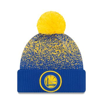 Golden State Warriors NBA17 On Court Cuffed Pom Knit Hat By New Era
