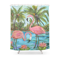 Society6 Pink Flamingos Shower Curtain