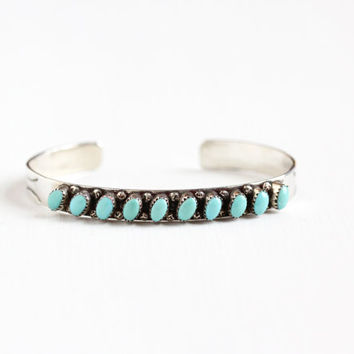 Vintage Sterling Silver Turquoise Cuff Bracelet - Retro 1970s Studded Native American Southwestern Teal Blue Gem P.D. Coonis Tribal Jewelry