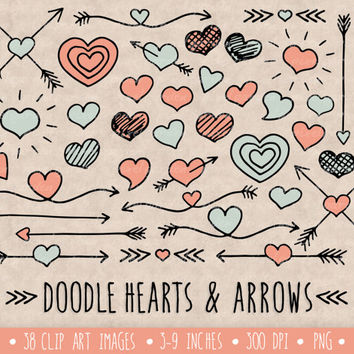 Hearts and Arrows Clip Art Set. Hand Drawn Valentine's Day Clipart. Doodle Arrows and Hearts in Mint and Pink. Arrows Text Dividers.