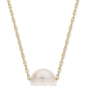Macy's Cultured Freshwater Pearl (8-1/2mm) Choker Necklace in 14k Gold Jewelry & Watches - Necklaces - Macy's