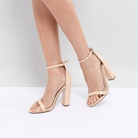 Missguided Block Heeled Barely There Sandal at asos.com