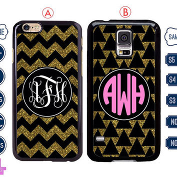 Gold glitter chevron Monogram iPhone 6 case , iPhone 6 plus case , iPhone 5 case , Samsung galaxy note 3 case , S4 custom Samsung s5  C4
