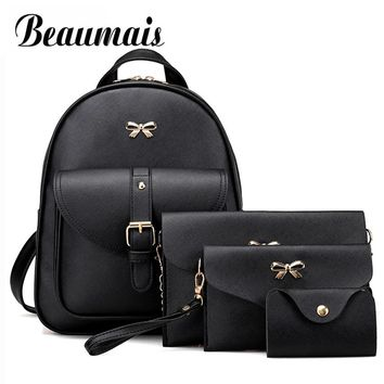 Beaumais 4Pcs/Set PU Leather Women Backpack Cute Bow School Bags For Teenage Girls Backpacks Fashion Shoulder Bag Purse DF0236