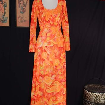 Vintage 70s Tangerine Sunset Maxi Dress