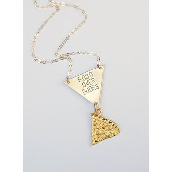 Food Over Dudes Necklace in Brass Pizza