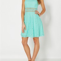 Mint Illusion Waist Crochet Skater Dress