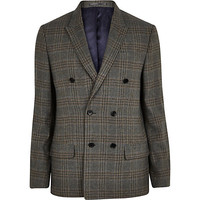River Island MensBlue check slim double breasted suit jacket
