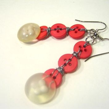 Upcycled Pink Button Earrings with Repurposed Vintage Clear Bubble Buttons with Cute Floral Imprint Watermelon Candy
