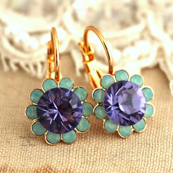 Mint Green violet purple Flower Swarovski Gold lever back earrings - 18k 2 micron thick gold plating earrings brides maids earrings,gift.