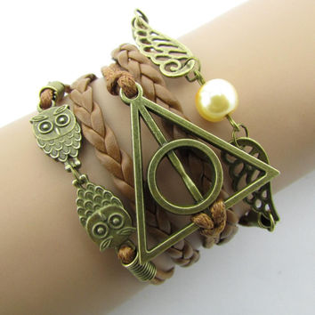 2017 Fashion Charm  Hand-Woven Harry Potter Hallows Wings   Bracelets Vintage Multilayer Braided