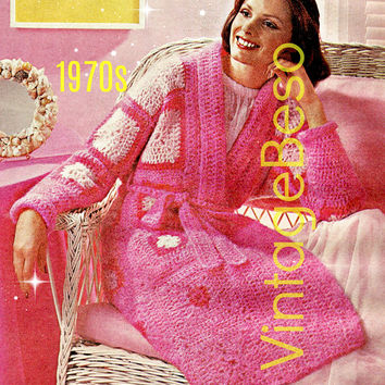 ROBE CROCHET PATTERN Digital Download Pdf 1970s Ladies Granny Square Robe with Belt to wrap around Woman Great to lounge or after a shower