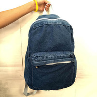 Denim Shoulder Bag Backpack Swagger Bag with Front Pocket
