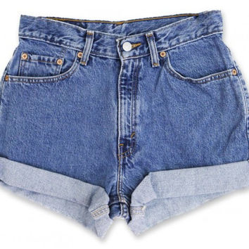 Vintage 90s Levi's Medium/Dark Blue Wash High Waisted Rise Cut Offs Cuffed Rolled Jean Denim Shorts – Size 27