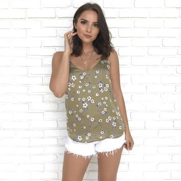 Sleek as Satin Floral Top in Olive