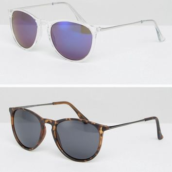 ASOS 2 Pack Skinny Keyhole Retro Sunglasses Clear & Plain Tort at asos.com