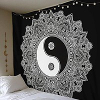 Classical black and white cloth tapestry,multi-function tapestry 146*146cm, table cloth, wall cloth, wearable beach blanket