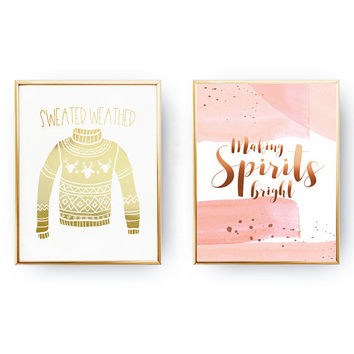 Set Of 2 Prints, Real Gold Foil, Making Spirits Bright, Sweater Weather, Christmas Art, Christmas Decor, Holiday Sign, Minimal Xmas Decor